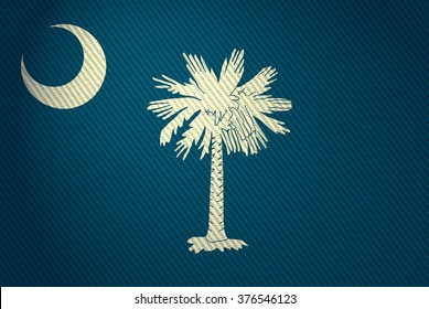 Flags from the states of the USA (  with a woven textile texture and spotlight )  ; the flag of  south Carolina