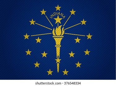 Flags from the states of the USA ( with a woven textile texture and spotlight ) ; the flag of Indiana