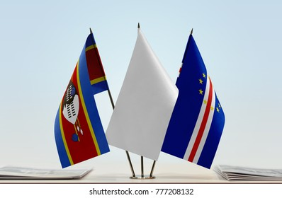 Flags of Swaziland and Cape Verde with a white flag in the middle
