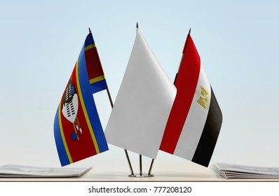 Flags of Swaziland and Egypt with a white flag in the middle