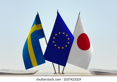 Flags of Sweden European Union and Japan