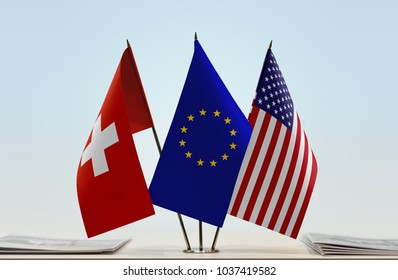 Flags of Switzerland European Union and USA