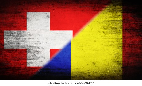 Flags of Switzerland and Romania divided diagonally