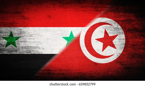 Flags of Syria and Tunisia divided diagonally