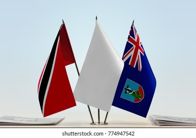 Flags of Trinidad and Tobago and Montserrat with a white flag in the middle