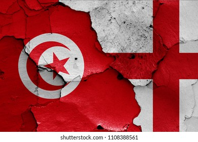 flags of Tunisia and England