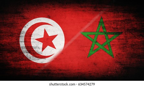 Flags of Tunisia and Morocco divided diagonally