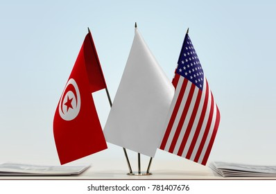 Flags of Tunisia and  with a white flag in the middle