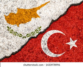 Flags of Turjey and Cyprus painted on cracked wall background/Turkey versus Cyprus conflict concept
