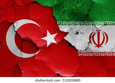 flags of Turkey and Iran