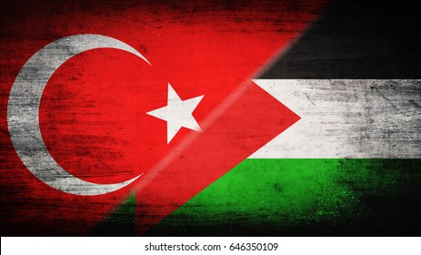 Flags of Turkey and Palestine divided diagonally