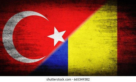 Flags of Turkey and Romania divided diagonally