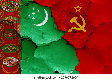 flags of Turkmenistan and Soviet Union