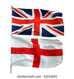 Flags of UK and England - isolated over white background