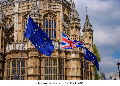 Flags of UK and the European Union in London