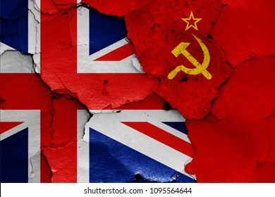 flags of UK and Soviet Union