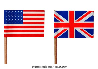 Flags of the UK (Union Jack) and USA isolated over white
