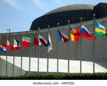 flags at the UN
