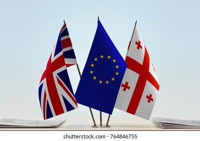 Flags of United Kingdom European Union and Georgia