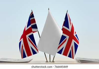Flags of United Kingdom with a white flag in the middle