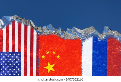 The flags of the United States, China and Russia are narsovany on a piece of ice in the form of an Arctic iceberg against a blue sky. Conflict of interests in the Arctic, Cold War, Arctic shelf