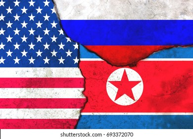 Flags: United States, Russia, North Korea