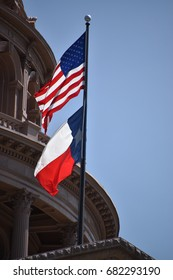 Flags of the United States and the State of Texas