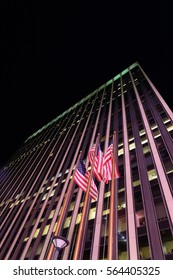 Flags of the United States (The Stars and Stripes, Old Glory) waving in front of Madison Square Garden New York, Manhattan, United States