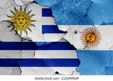 flags of Uruguay and Argentina