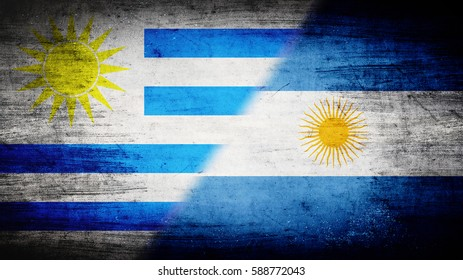 Flags of Uruguay and Argentina divided diagonally