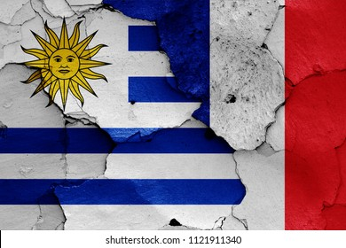 flags of Uruguay and France
