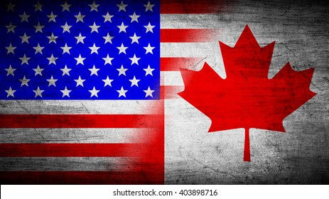 Flags of USA and Canada divided diagonally