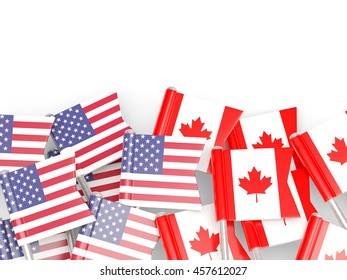 Flags of USA and Canada   isolated on white. 3D illustration