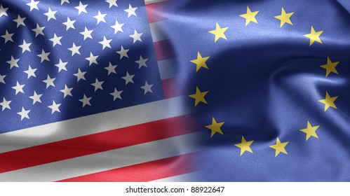 Flags of USA and Europe