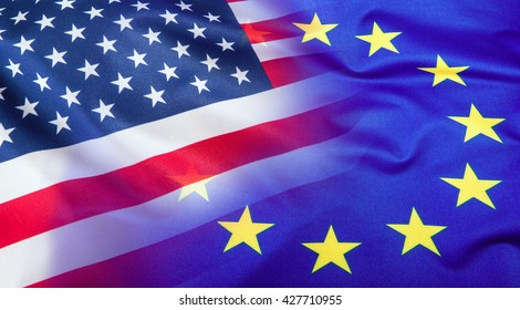 Flags of the USA and the European Union.
