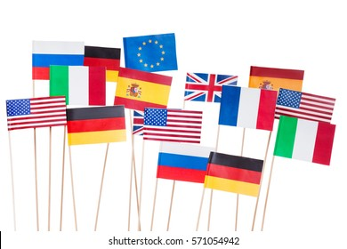 Flags of USA and European Union member-states