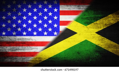 Flags of USA and Jamaica divided diagonally