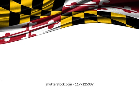 Flags from the USA on fabric State of Maryland