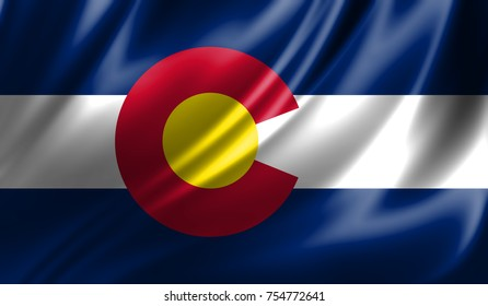 Flags from the USA on fabric ; State of Colorado