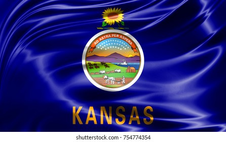 Flags from the USA on fabric ; State of Kansas