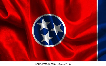 Flags from the USA on fabric ; State of Tennessee