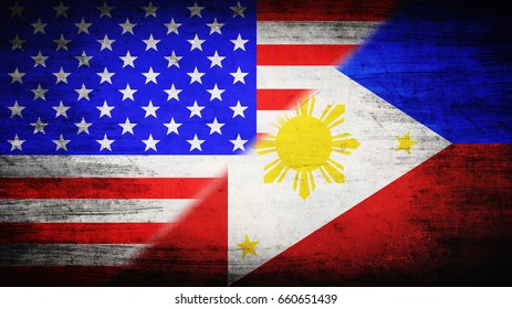 Flags of USA and Philippines divided diagonally