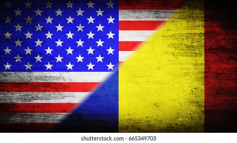 Flags of USA and Romania divided diagonally