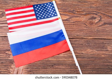 Flags USA and Russia
