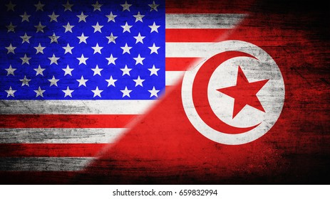 Flags of USA and Tunisia divided diagonally