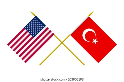 Flags of USA and Turkey, 3d render, isolated on white
