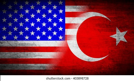 Flags of USA and Turkey divided diagonally