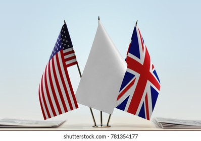Flags of USA and United Kingdom with a white flag in the middle