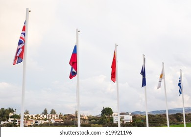 Flags of various nations and some countries outdoor