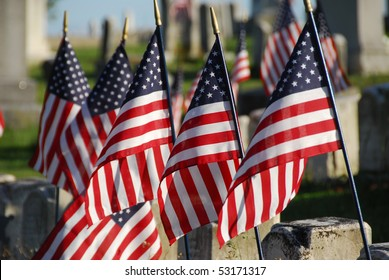 Flags in Veterans Cemetery
